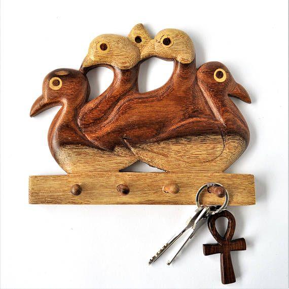 Carved birds key hanger Key rack Entryway decor Decor hook