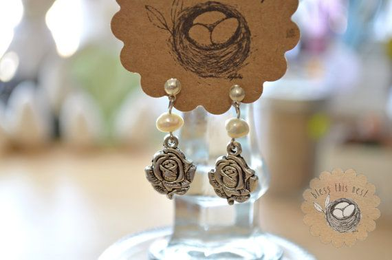 Fresh Water Pearl Earrings with Silver Rose Charms