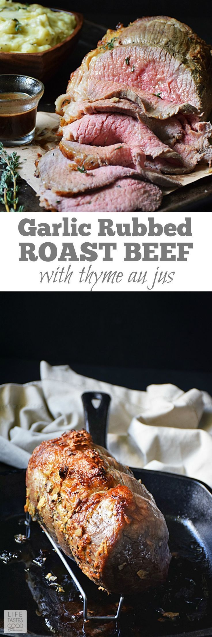 Gather the family around to enjoy this beautiful Garlic Roast Beef | With a crisp garlicky crust on the outside and juicy inside, this elegant meal is special enough for holidays!