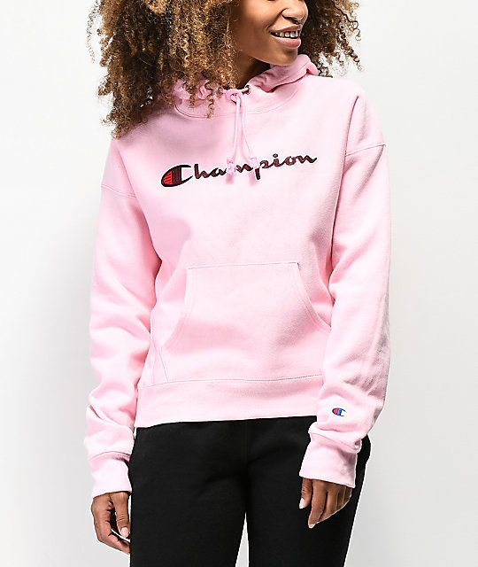 c1ed98b8652d Champion Reverse Weave Chenille Logo Pink Hoodie in 2019