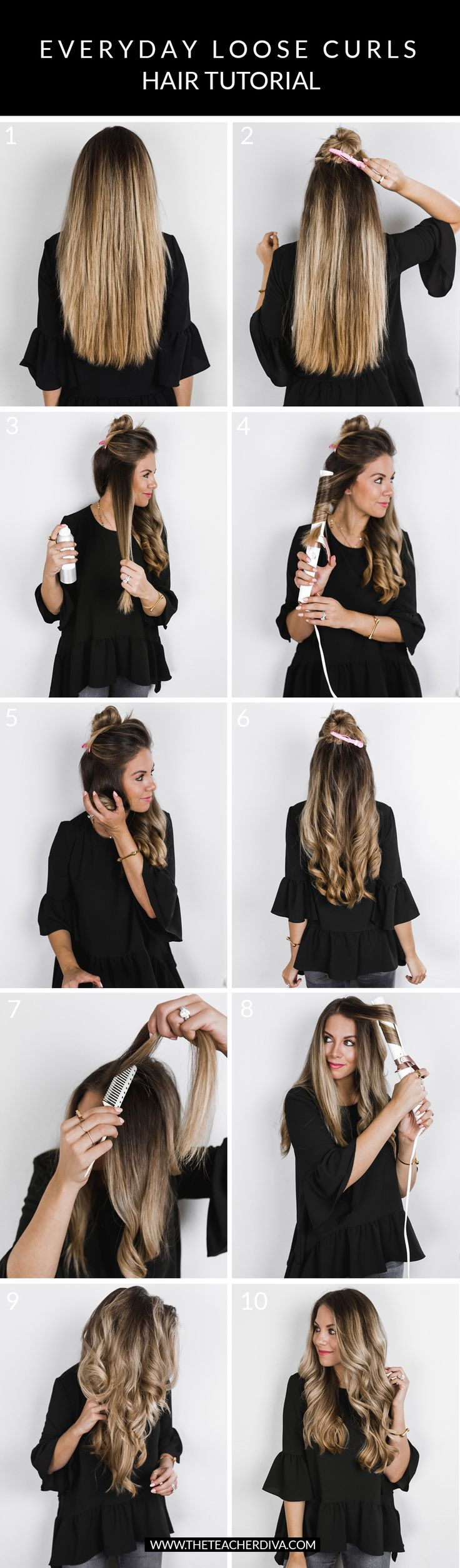 How I Get My Everyday Loose Curls | The Teacher Diva: a Dallas Fashion Blog featuring Beauty & Lifestyle