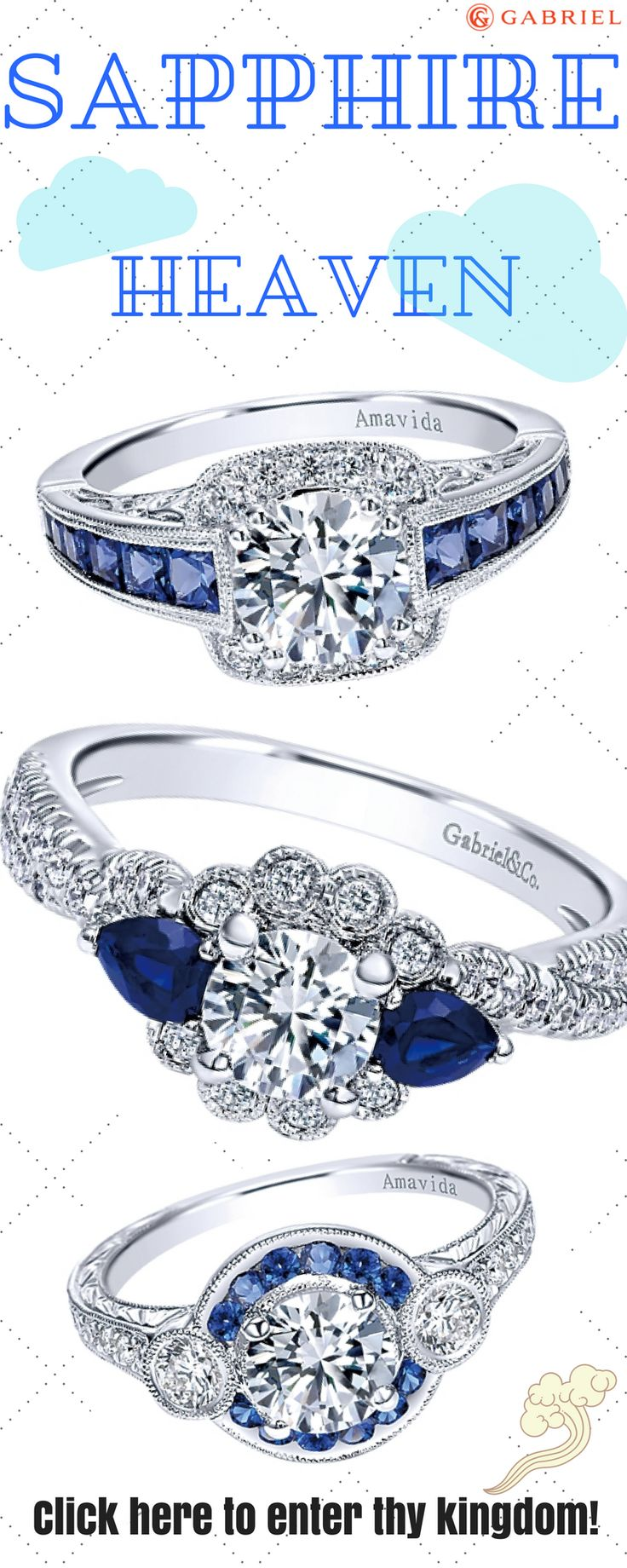 Did I just enter Sapphire Engagement Ring heaven? Yup, I think so! We have an assortment of sapphire rings that we think will match exactly what you're looking for. Show her that you love her with these classic rings. Oh. And sapphire is associated with the Royals- Kate Middleton and Princess Diana are both known for their sapphire engagement rings...so enter thy kingdom!