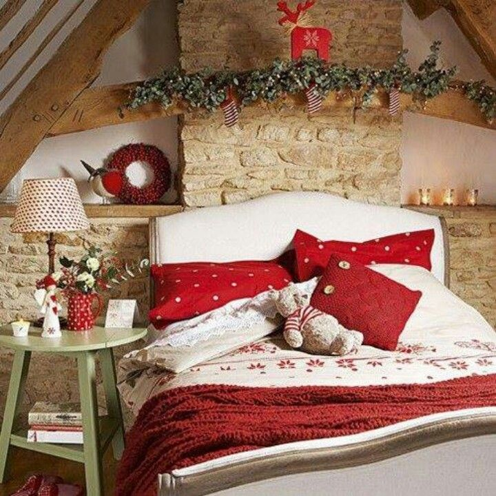 Holiday Bedroom Decorating Ideas Part - 34: One Year I Will Be Able To Deck The Bedroom Too. I Dream Of White And Red  Christmas Sheets And Pillow Cases