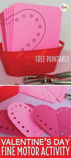 Looking for a fun Valentine's Day activity for kids? With this free printable, kids can cut and use a hole punch to make and decorate cute hearts. Use them to decorate your room. This is the perfect activity for your preschool, pre-k, kindergarten, or SPED classroom. A great addition to your Valentine's Day theme or February theme units or lesson plans. Kids can practice scissor skills and strengthen fine motor skills with a hole punch. Cute Valentine, cute Valentine's Day activity.