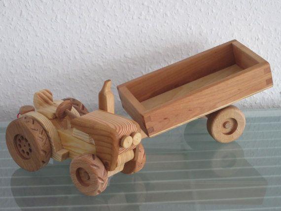 Traktor mit Hänger Anhänger GROSS Auto von woodendreams2013 auf Etsy