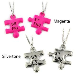Silvertone/ Magenta 'Best Friend' Puzzle Piece 2-piece Necklace Set | Overstock.com