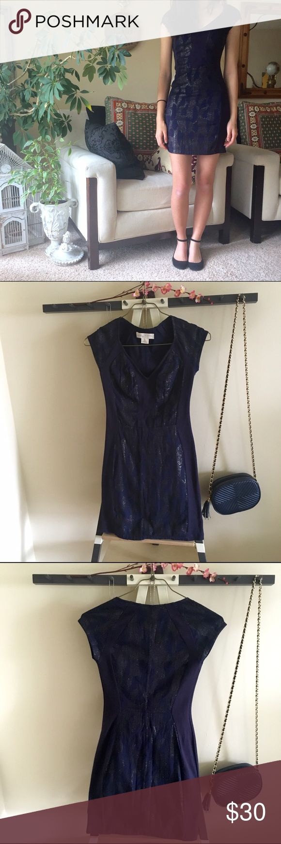 Staring At Stars UO Metallic Bodycon Dress Navy bodycon dress from UO in excellent condition with glitter-embelished panels. Only worn once. Staring at Stars Dresses
