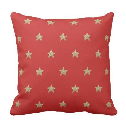 Faux Glitter Stars | Red Throw Pillow Cushion - birthday gifts party celebration custom gift ideas diy