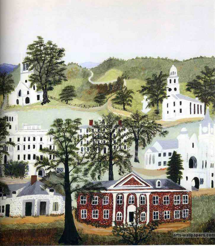 Beautiful churches, Grandma Moses, popular master american artist