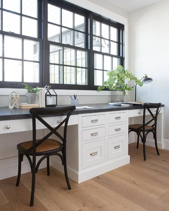 Side By Side White Built In Desks Accented With Satin Nickel