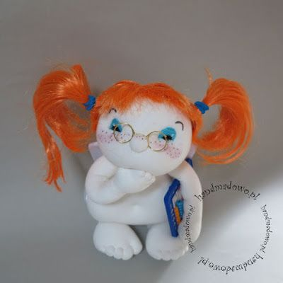 HANDMADOWO: Amorek dla księgowej  #handmade #doll #anioł #aniołek #angel #szyte #pszczoła #przebranie #księgowa #liczydło #ruda #pippi #pipi