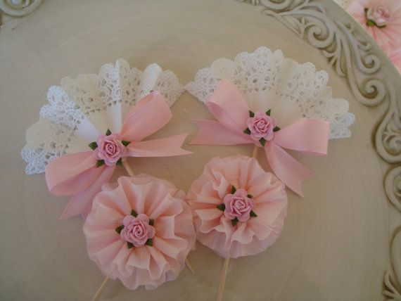 Pink and Lace Cupcake Toppers
