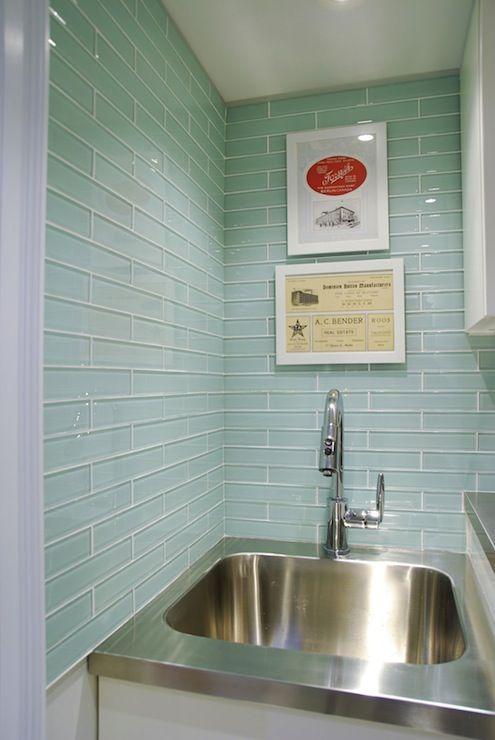 rambling renovators laundry room with gorgeous miki solid glass 2x10 backsplash tile with stainless steel - Utility Sink Backsplash
