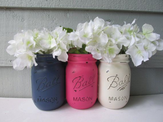 Painted and Distressed Ball Mason Jars Navy by Theretroredhead2