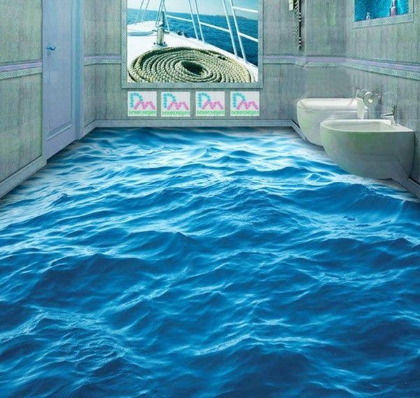 3d Peaceful Blue Sea Water Floor Mural Photo Flooring Wallpaper Print Home Decal For Bathroom Kitchen Living Room Wish Floor Murals Floor Wallpaper Waterproof Flooring