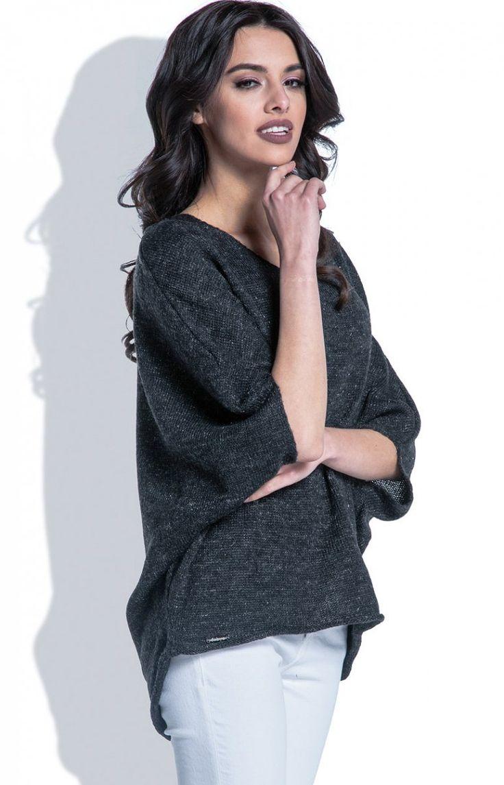 Fobya F400 bluzka czarny Komfortowa bluzka damska, wykonana z lekkiej i delikatnej przędzy, rękawy typu kimono