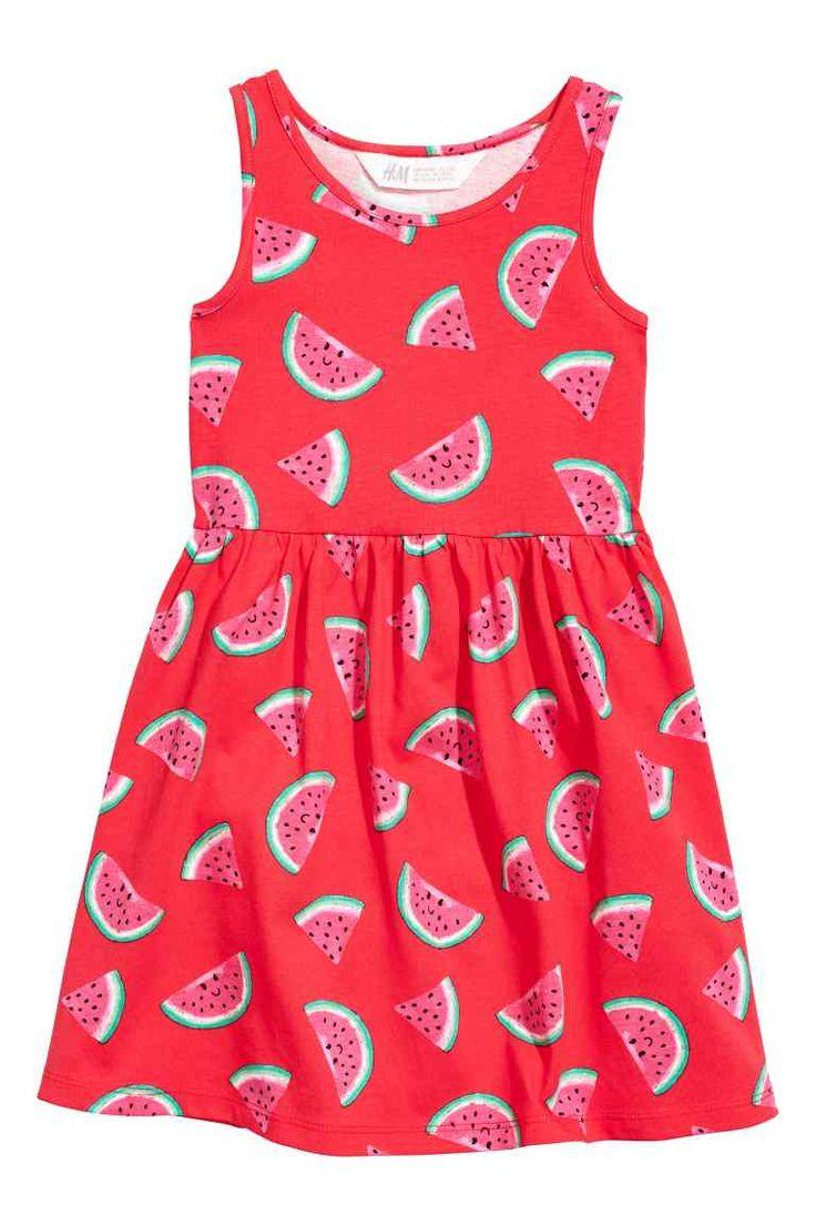 Tricot jurk met dessin - Rood/watermeloen - KINDEREN | H&M NL