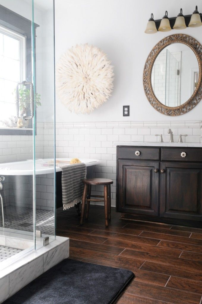 final master bathroom pics  dark wood tile white subway