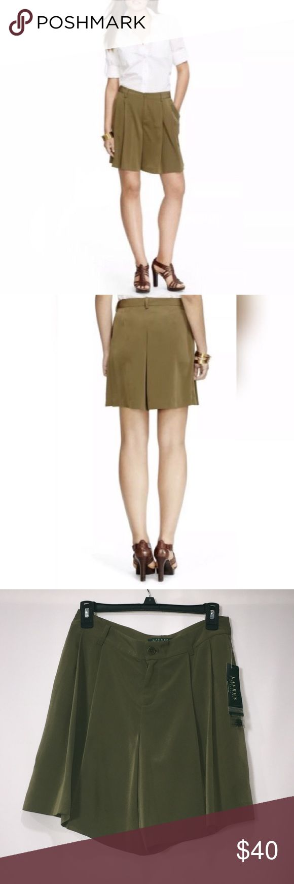 Ralph Lauren Olive Green Shorts Style up these chick olive green shorts from Ralph Lauren with a simple tee or a button up. Easily worn up or down. This wonderful piece from Ralph Lauren is a must have. Ralph Lauren Shorts