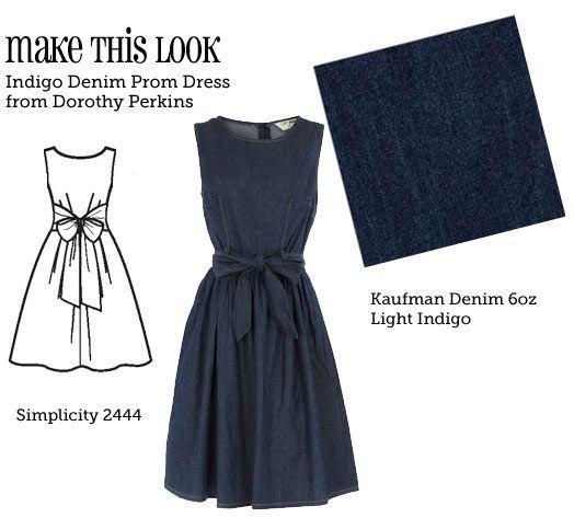 DIY Clothing & Tutorials: Make this look. Indigo Denim Prom Dress. Simplicity 2444.