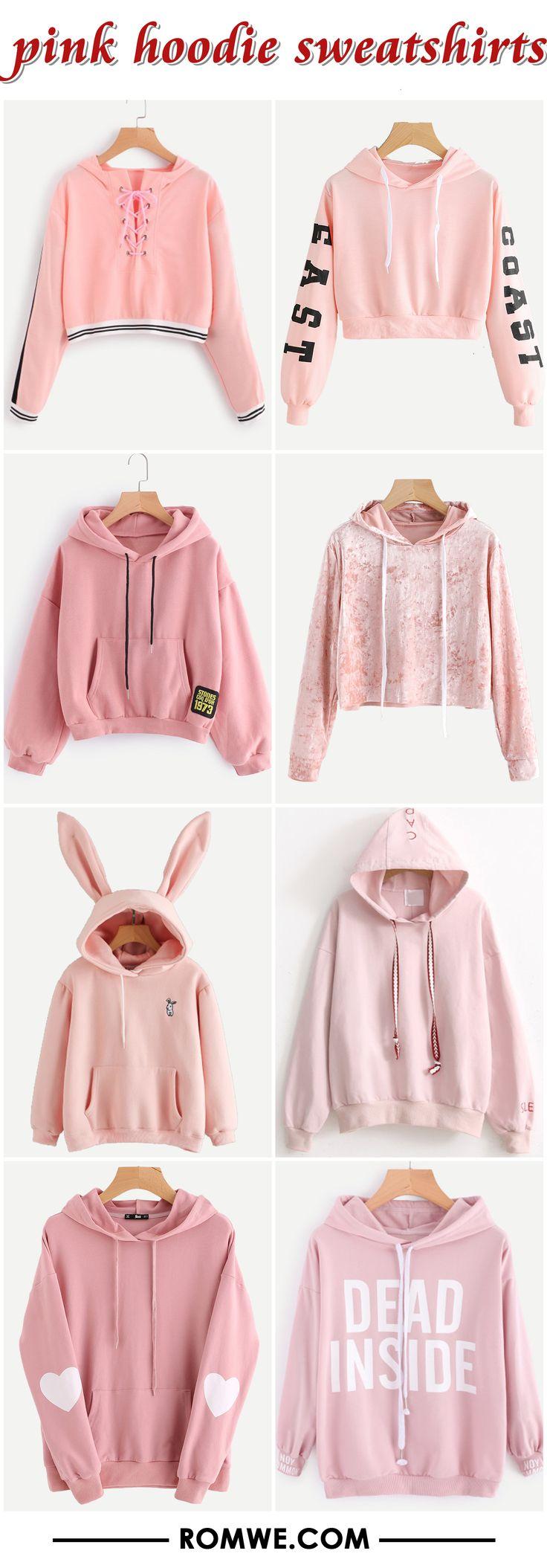 black friday sale - pink hoodie sweatshirts from romwe.com