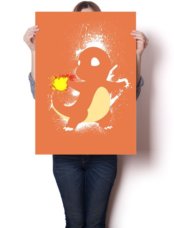 "Charmander inspired paint splatter poster | 24"" x 18"" 