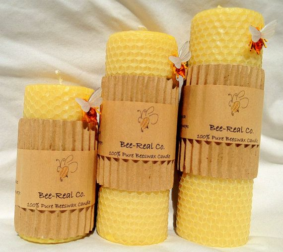 100 Pure Beeswax Solid Pillar Candle with Honeycomb 6 by beerealco, $11.00