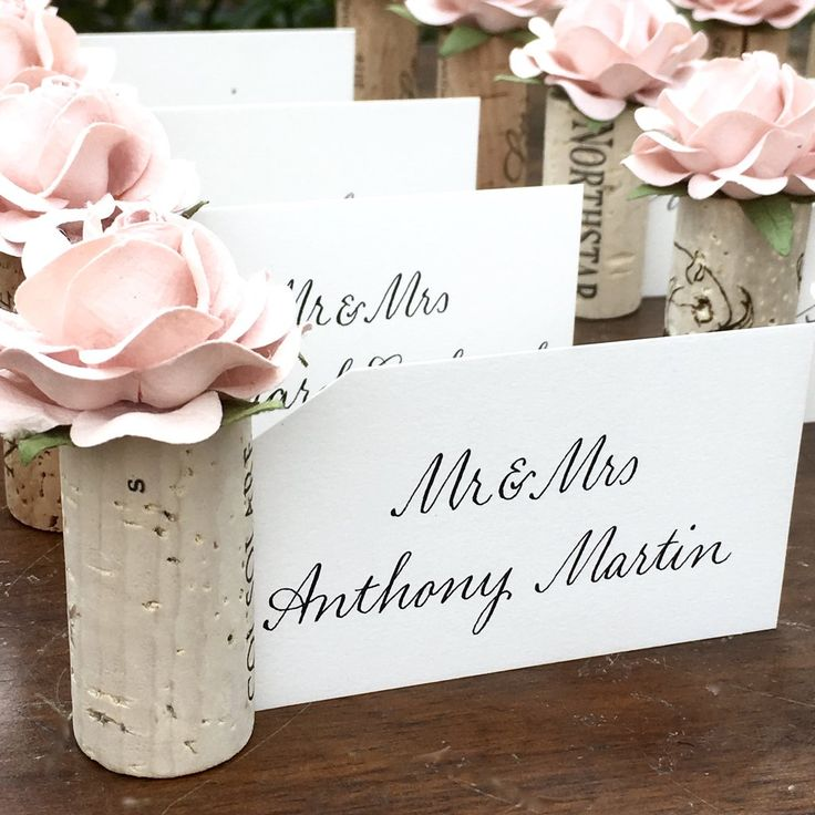wine cork wedding place card holder