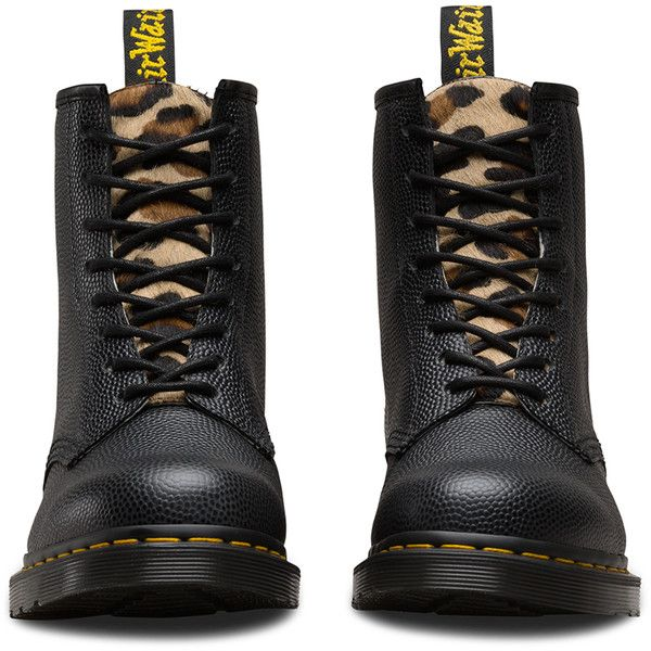 Dr. Martens Leather 1460 Stussy Boots (€165) ❤ liked on Polyvore featuring shoes, boots, 80s boots, faux leather shoes, cheetah boots, fake leather boots and punk rock boots