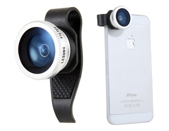 Lesung Clip External Cell Phone Camera for iPhone 4 & 4S, iPhone 5 Fish Eye 180° Lens (Black)