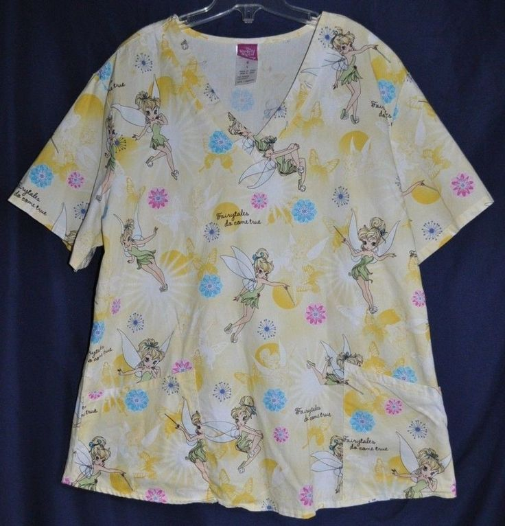 Disney Tinkerbell Scrub Top Medical Hospital Uniform yellow Womens size Large  #Disney For sale $15.93