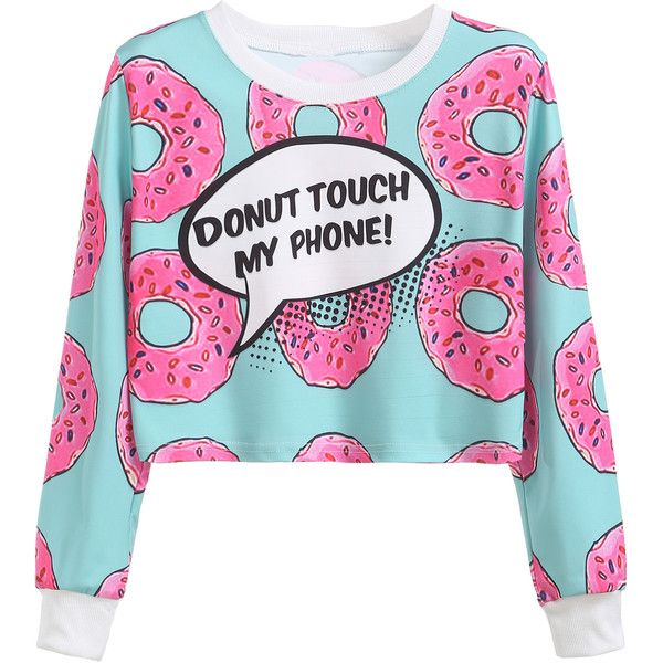 Contrast Trim Donuts Print Crop Sweatshirt (68 BRL) ❤ liked on Polyvore featuring tops, hoodies, sweatshirts, shirts, sweaters, long sleeve polyester shirts, blue shirt, cropped shirts, long sleeve sweatshirts and long sleeve pullover