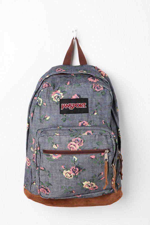 Gray Floral Print Jansport Backpacks - Cute Floral Print Jansport Backpacks