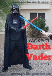Make a Darth Vader Costume -- it is all about black, and scary.  Get those two, you make the costume. :)  After all, it is the DARK SIDE!!!!