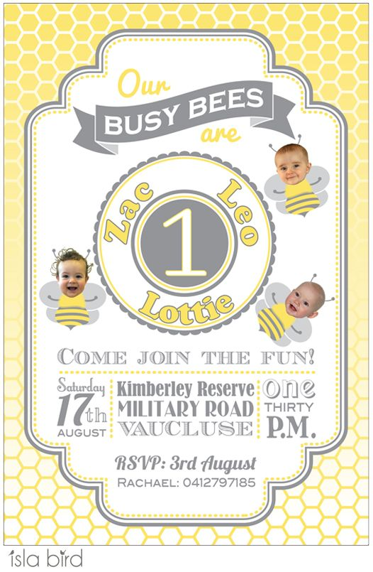 Busy Bees Birthday Party Invitation