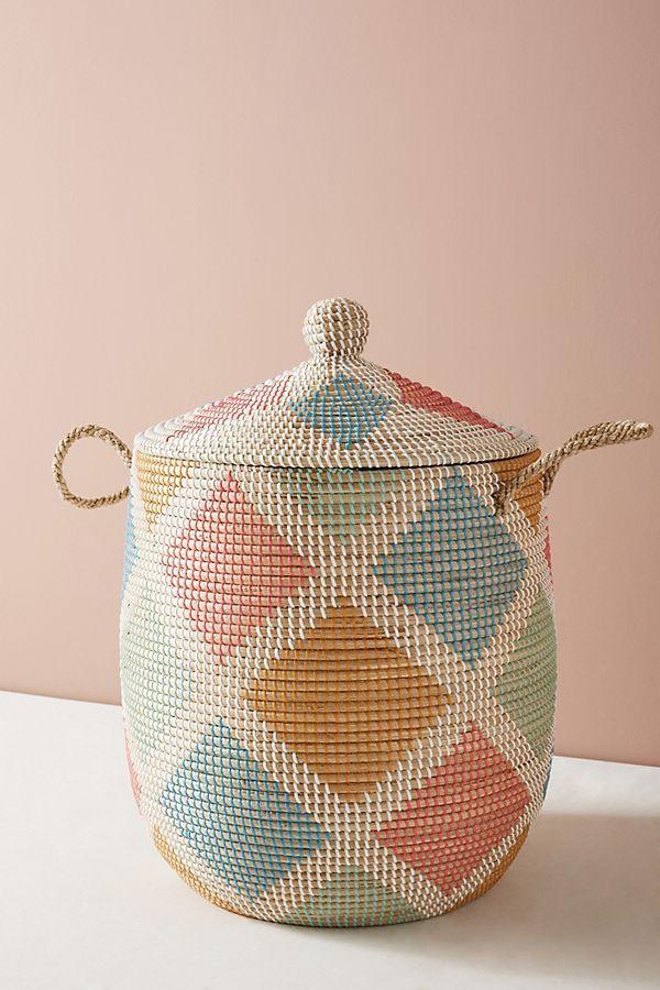 Slide View: 4: Diamond Rattan Storage Basket
