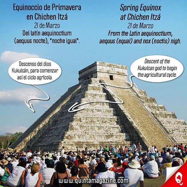 ➡️ Un mes para el Equinoccio de Primavera en Chichén Itzá (21 de Marzo). Durante los equinoccios de primavera y otoño, al topar los rayos de Sol en la escalera principal y se produce un espectáculo de luz y sombra. Se forman triángulos de luz producto de la sombra que proyectan los nueve cuerpos o plataformas de la pirámide. Esa sombra, conforme avanza el sol, se desliza hacia abajo hasta iluminar la cabeza de una de las serpientes que se encuentran al inicio de la escalinata. Según los…