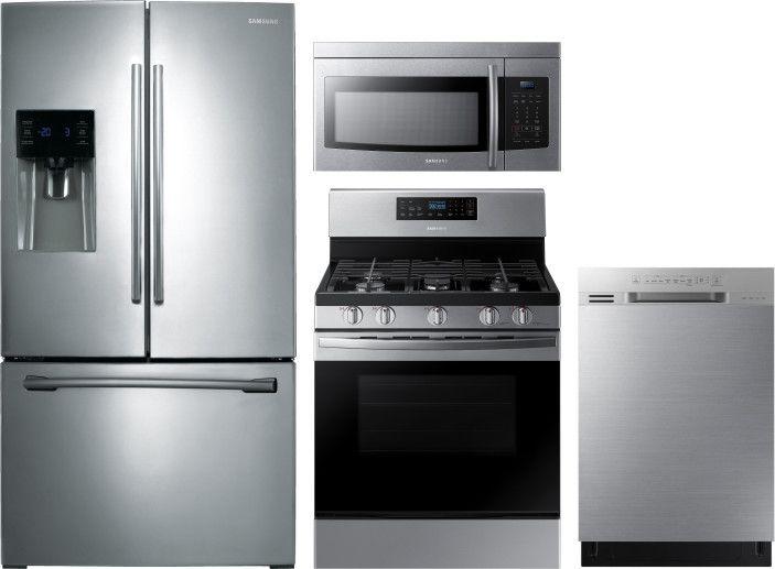 Samsung 4 Piece Kitchen Appliances Package With French Door Refrigerator Gas Ran Kitchen Appliance Packages French Door Refrigerator Over The Range Microwaves