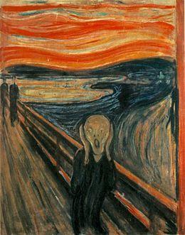 """Edvard Munch """"Le cri"""" 1886 Symbolisant l'homme moderne emporté par une crise d'angoisse existentielle, elle est considérée comme l'œuvre la plus importante de l'artiste. Le paysage en arrière-plan est le fjord d'Oslo, vu d'Ekeberg."""