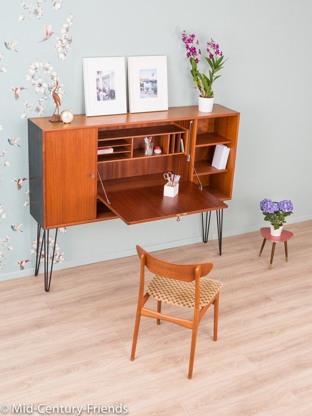 Vintage Kommoden - Exklusiver Sekretär, Teak, 60er Sideboard Vintage - ein Designerstück von Mid-Century-Friends bei DaWanda