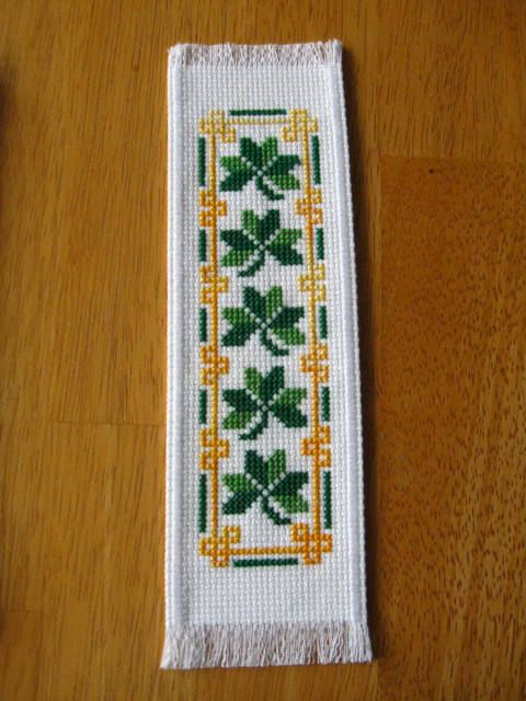 """Excited to share the latest addition to my #etsy shop: St Patrick""""s Day Hand Stitched And Lined Completed Cross Stitch Bookmark """"Shamrock"""" 2.5"""" X 8.5"""" http://etsy.me/2CuJv69 #supplies #crossstitch #green #bookmark #completedbookmark #handcrafted #handmade #finished #bo"""