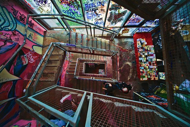 Tacheles Berlin a group of artists successfully saved an former department store from demolition. They set up a cultural centre and nightclub here. Tacheles is a dilapidated, graffitied shrine to art and alcohol...