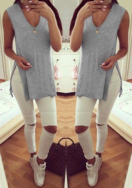Grey Side-Slit Sleeveless Tunic