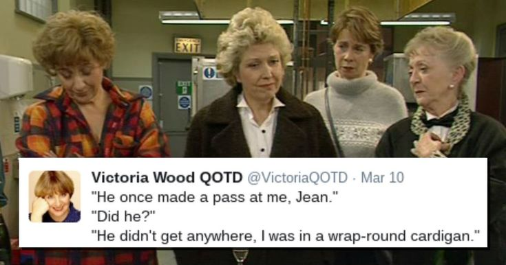 """Loving this Victoria Wood 'quote of the day' Twitter account that runs some of the sadly-missed comedian's best lines, with screen grabs from her many performances. Here's 59 of her best. 1. """"Honestly, who has sex on Christmas morning?""""""""The Dalai Lama!""""""""Well he must peel his sprouts the night before."""" pic.twitter.com/3tdyuIhaRt — Victoria Wood QOTD (@VictoriaQOTD) …"""
