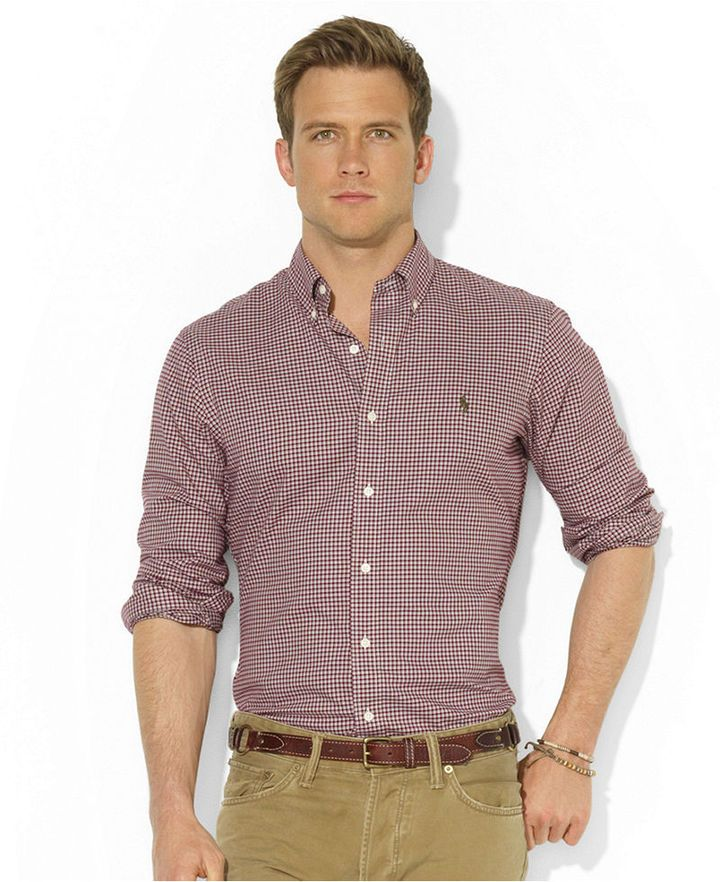 Burgundy Gingham Dress Shirt by Polo Ralph Lauren. Buy for $89 from Macy's