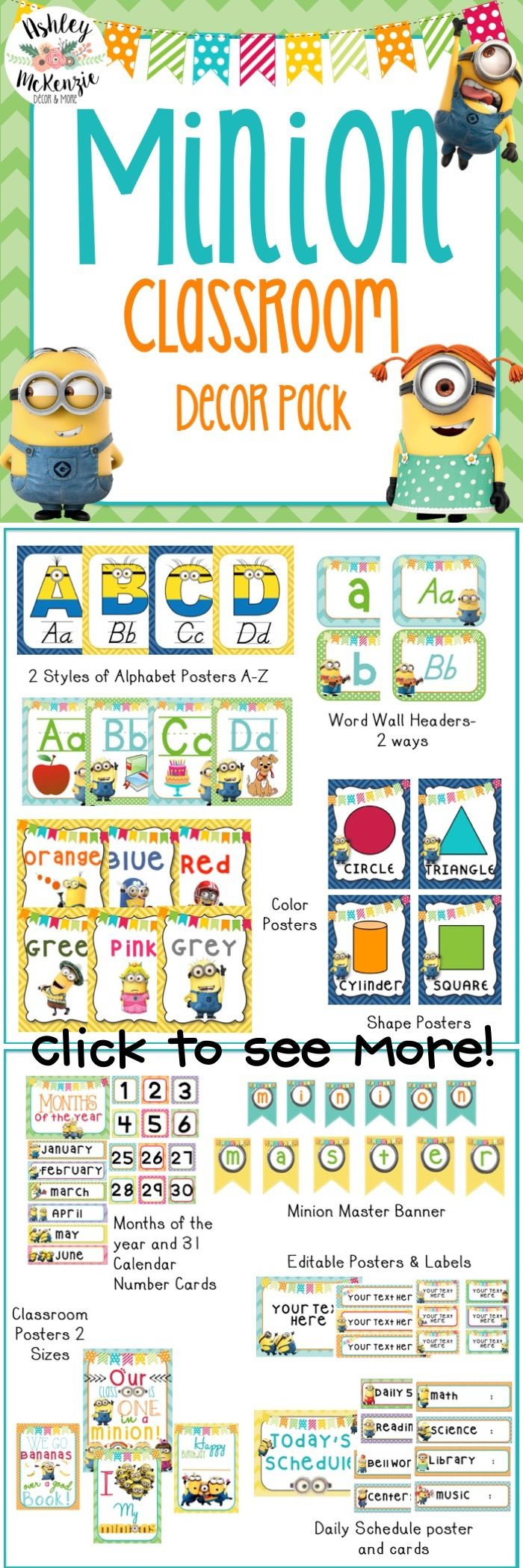 Minion Classroom Decor Pack! It includes over 260 pages of CUTE minion decor!