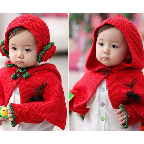 Baby Hooded Cape Glove Shawl