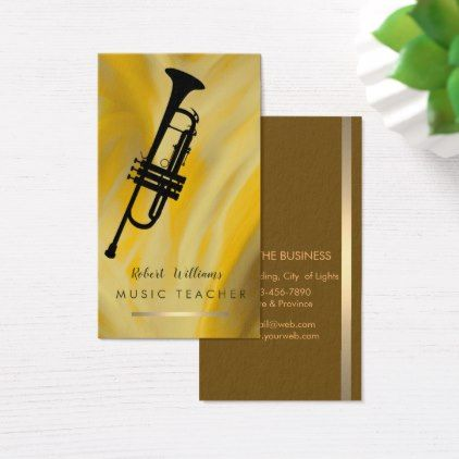 Lemon Music Trumpet Instrument  Band Musician Business Card - light gifts template style unique special diy