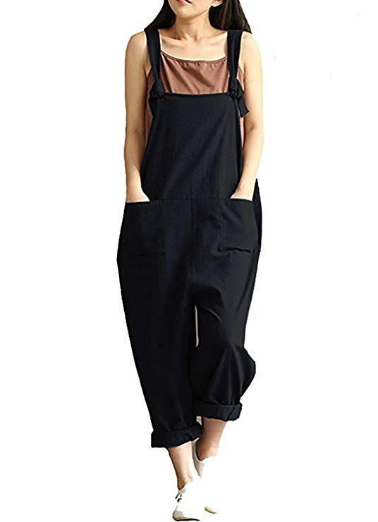 24058cab4ca Aedvoouer Overalls Women Casual Cotton Jumpsuit Plus Size Baggy Bib Wide  Leg Overalls Pants