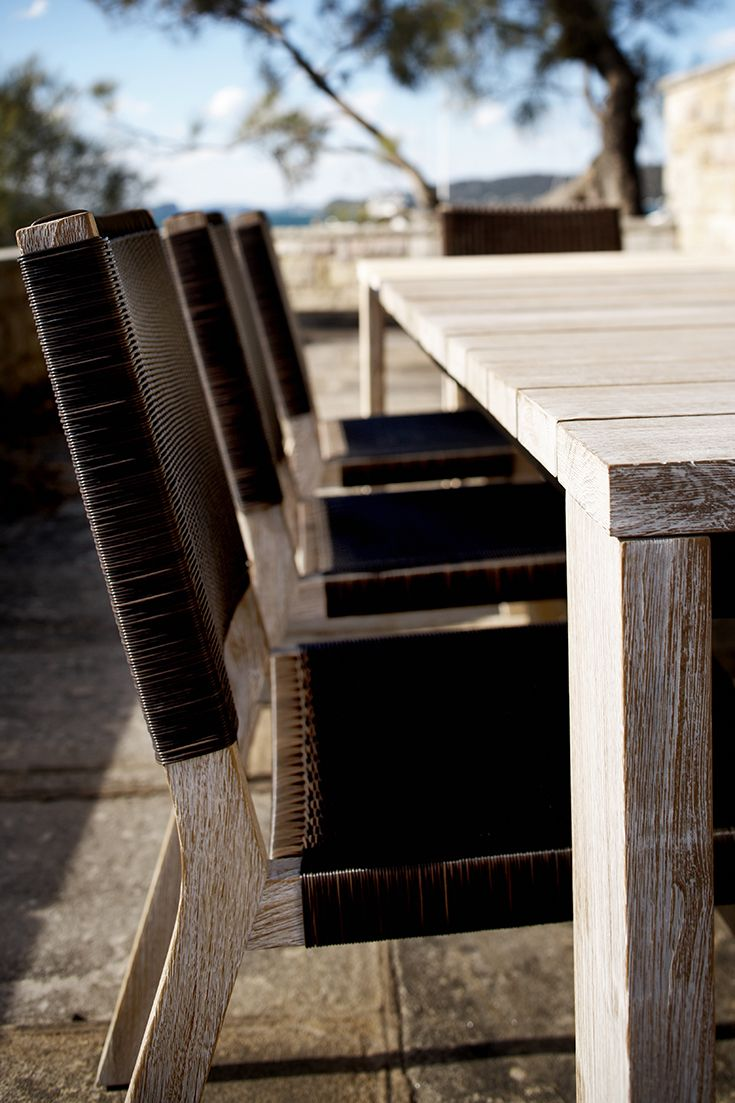 Barwon dining chair in brown weave with Jan Juc dining table in white wash finish  Outdoor furniture | Patio furniture | Outdoor dining | Teak outdoor | Outdoor design | Outdoor style | Outdoor luxury | Designer outdoor furniture | Outdoor design Inspiration | Pool side furniture